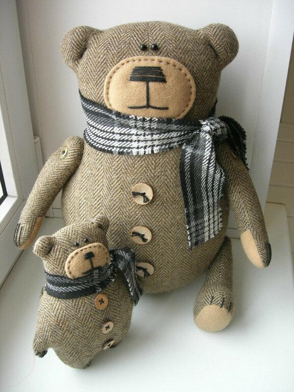 игрушки из ткани мама медведь с медвежонком