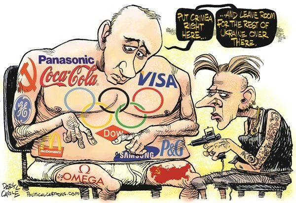 Putin and Olympic Sponsors © Daryl Cagle