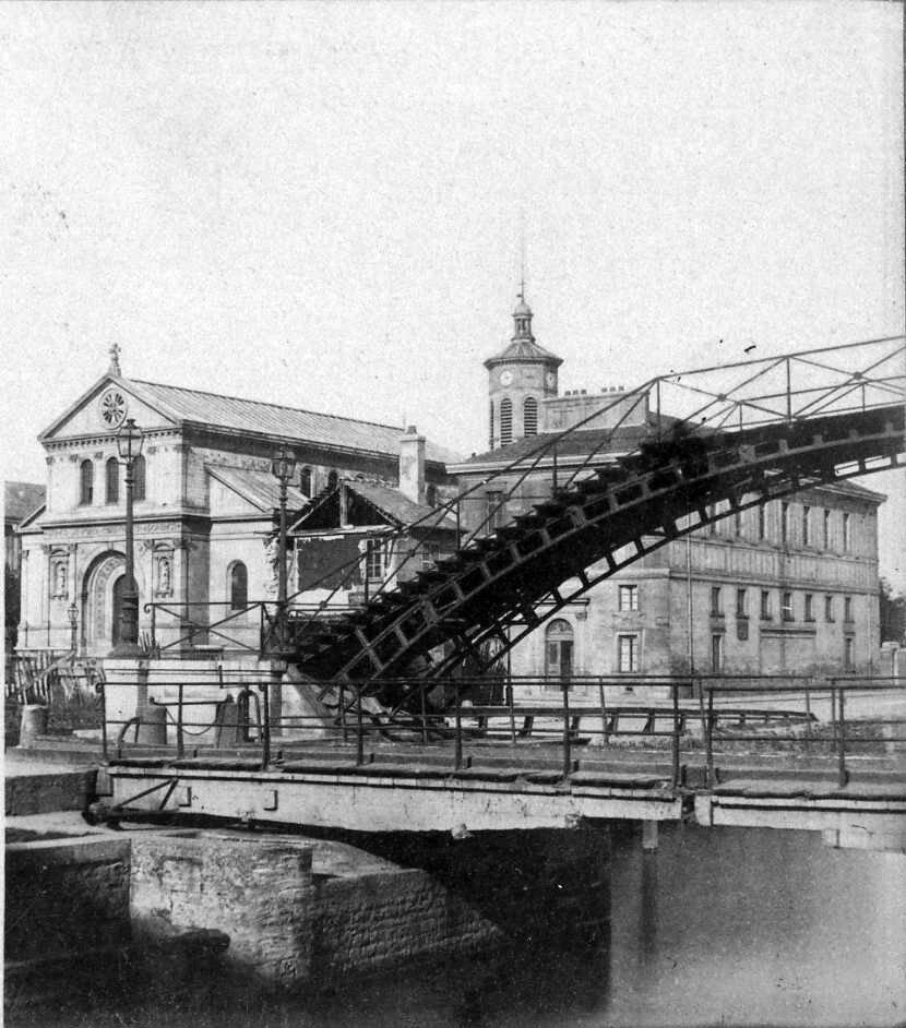 1880. Мост Ла-Виллет и церковь Святых Жака и Кристофа