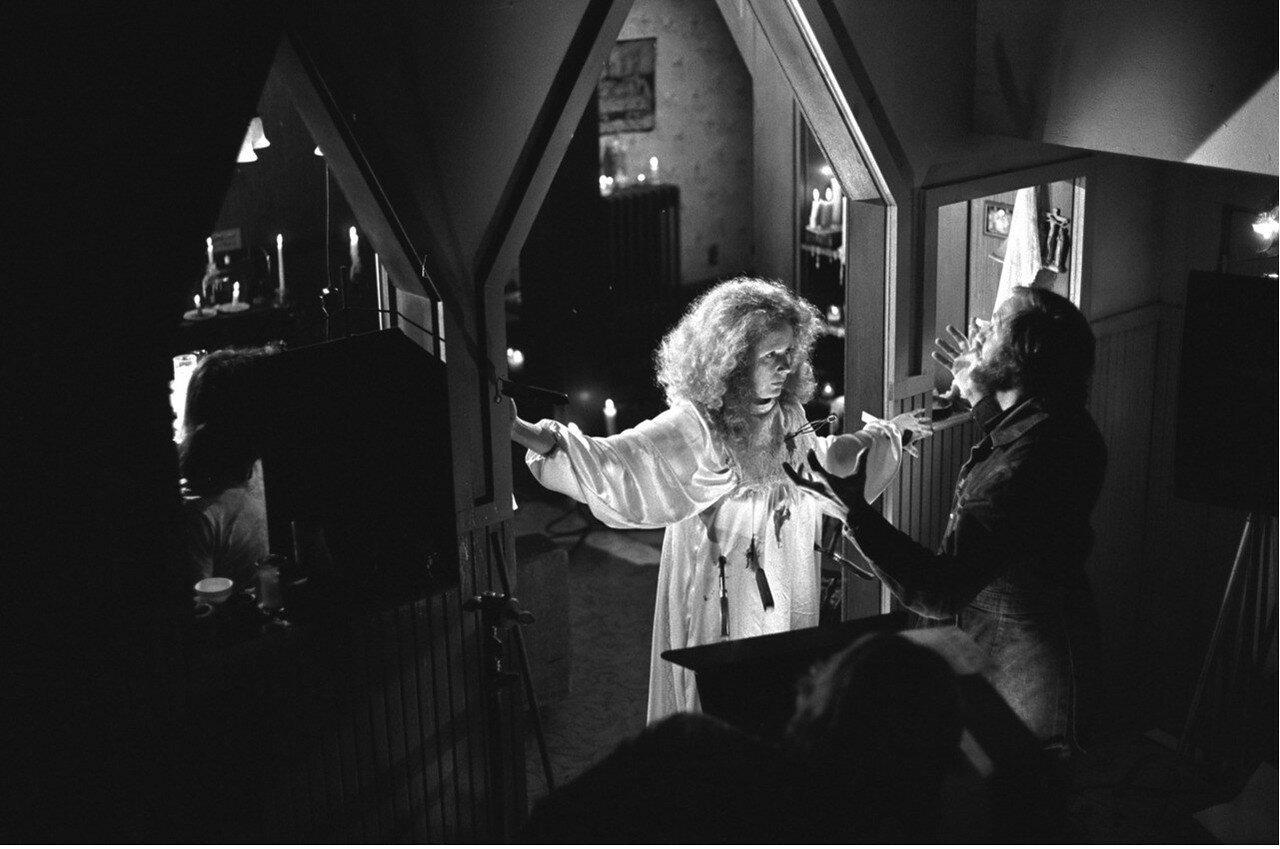 1986. Брайн Де Пальма и Пайпер Лори на съемках «Кэрри»