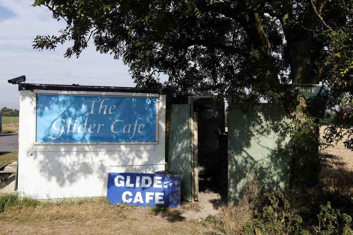The Glider Cafe is seen along the A419 near Frampton Mansell