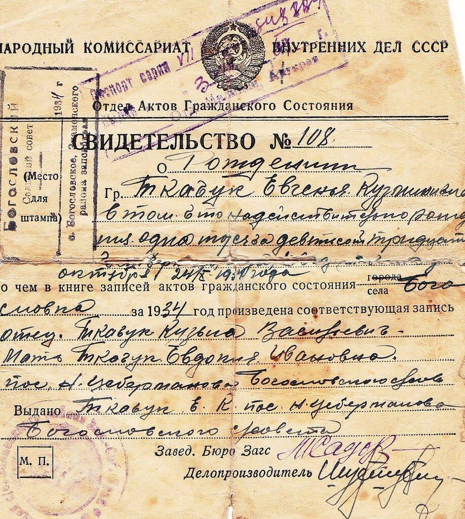 Архив киева запрос свидетельства о рожлении 1925 год