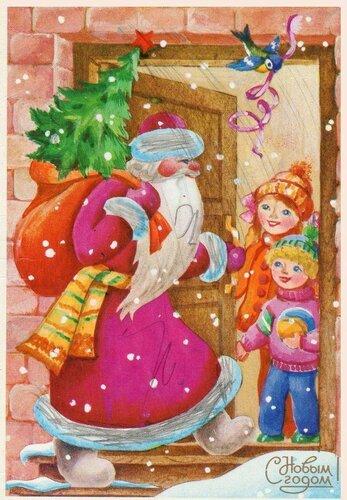 Новогодняя открытка. Худ. Л. Воронкова. 1986 открытка поздравление картинка