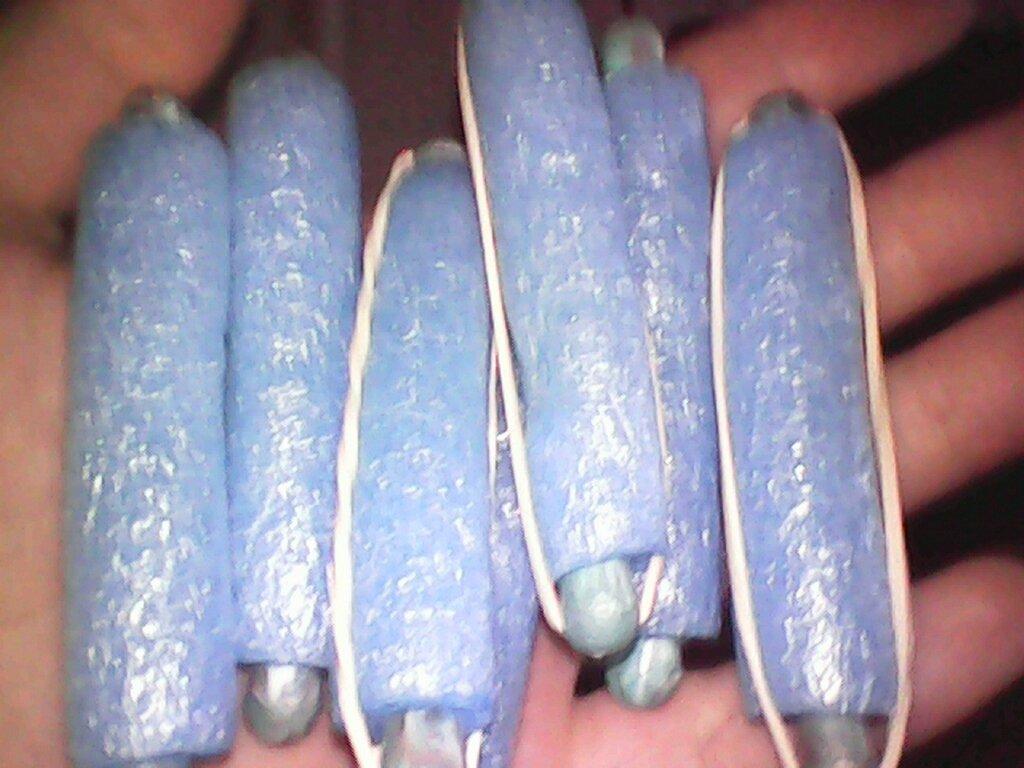 синие бигуди