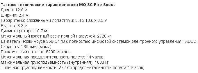 Тактико-технические характеристики MQ-8C Fire Scout