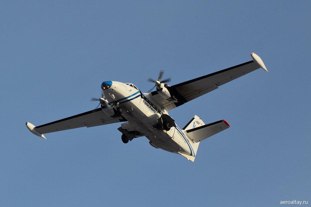 Л-410 следует рейсом ЭК 83 из Красноярска в аэропорт Барнаула