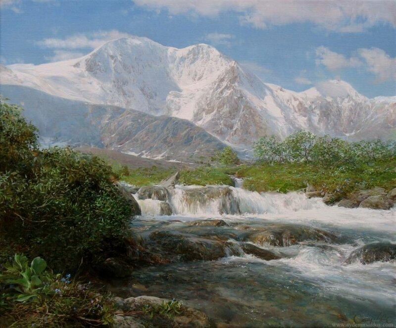 Айдемир Саидов. На фоне неба голубого застыли горные вершины.