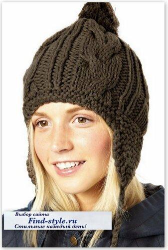 стильная шапка спицами, стильные женские шапки, Plush