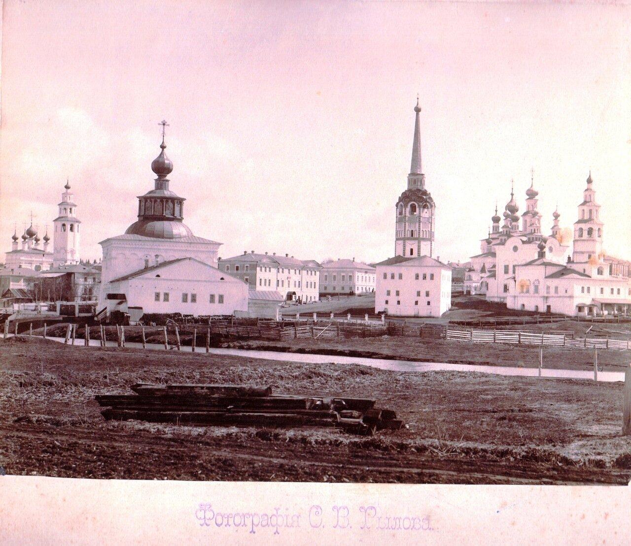 Вид на город с запада. Крестовоздвиженский собор, Соборная колокольня, Воскресенская церковь