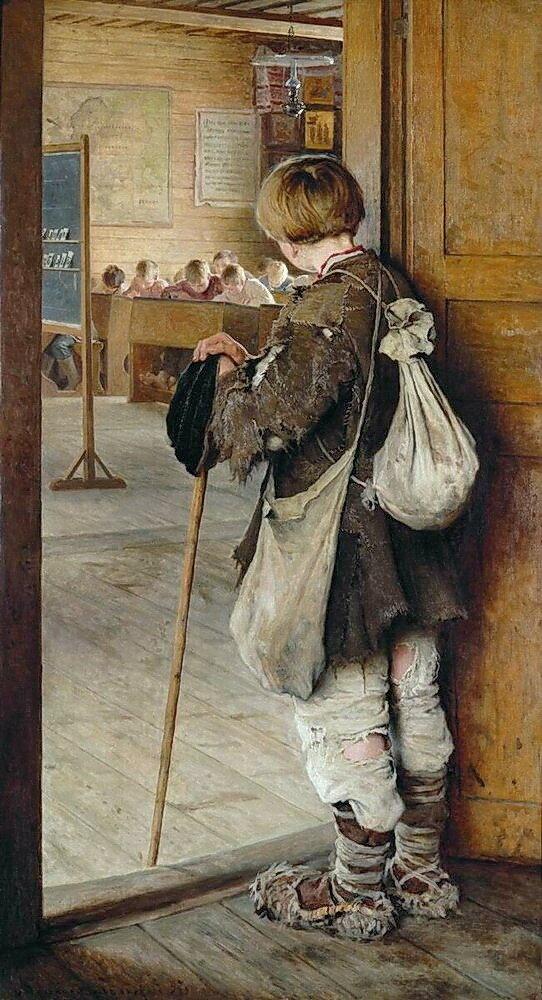 У дверей школы. 1897 ГРМ.jpg