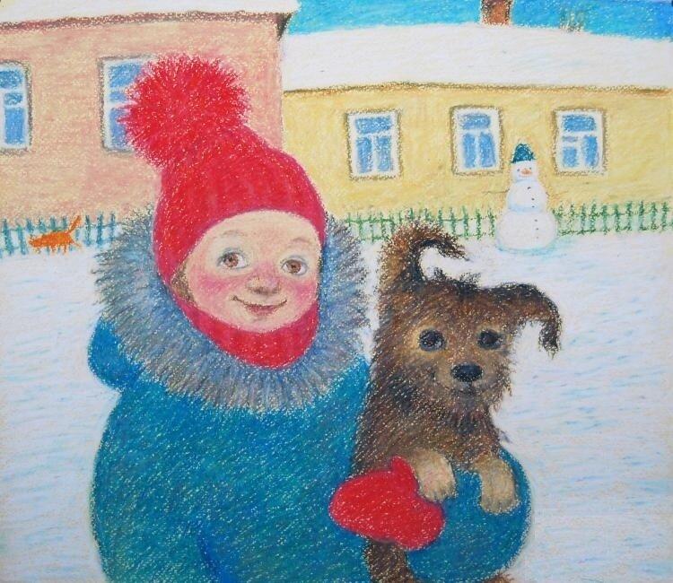 Тихо мне улыбается мой песик, ну и я улыбнусь  немножко… Художник Анна Ярмолюк