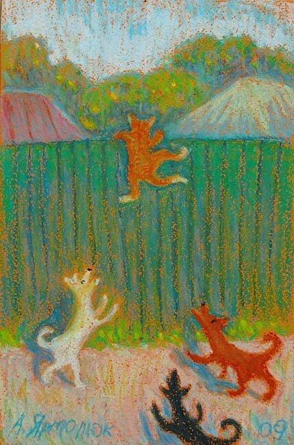 Тихо мне улыбается рыжая кошка, ну и я улыбнусь ей немножко… Художник Анна Ярмолюк