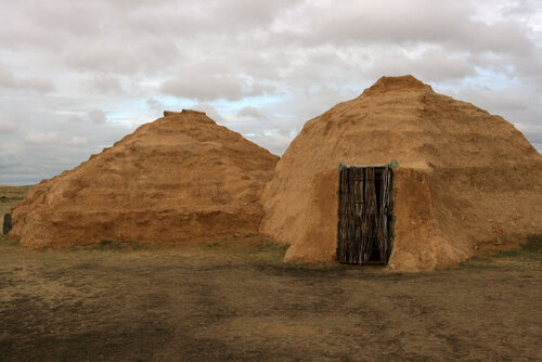 Реконструированные жилища жителей Аркаима