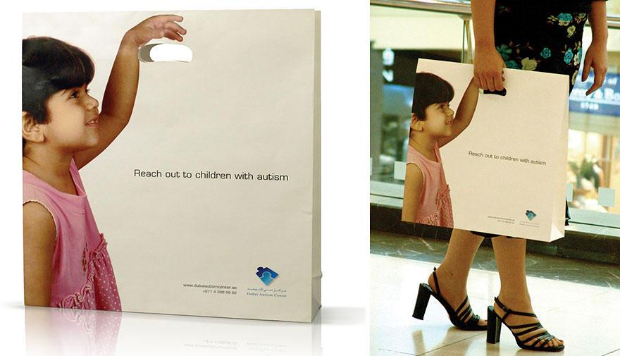 23. Пакет с рекламой дубайского центра помощи детям, больным аутизмом.
