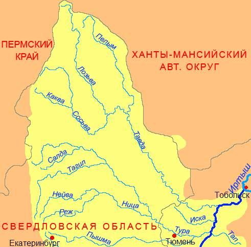 карта бассейна рек Пелым и