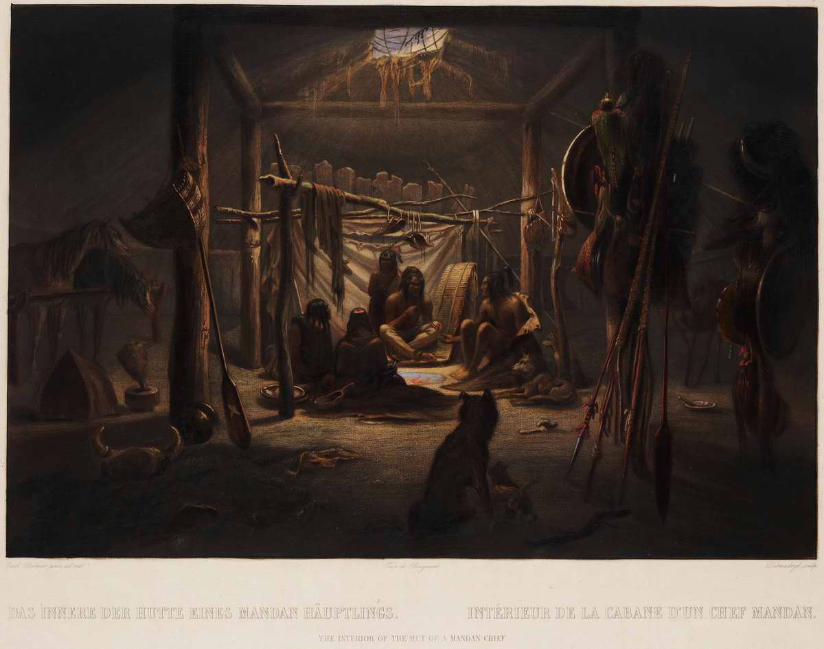 Интерьер вигвама (хижины) вождя племени манданов - Karl Bodmer