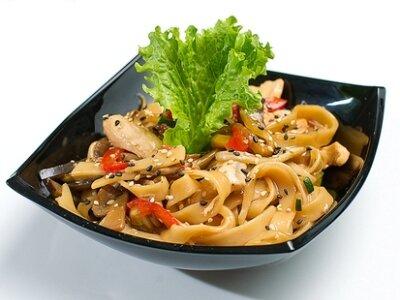 лапша удон с курицей и овощами и соусом терияки рецепт с фото