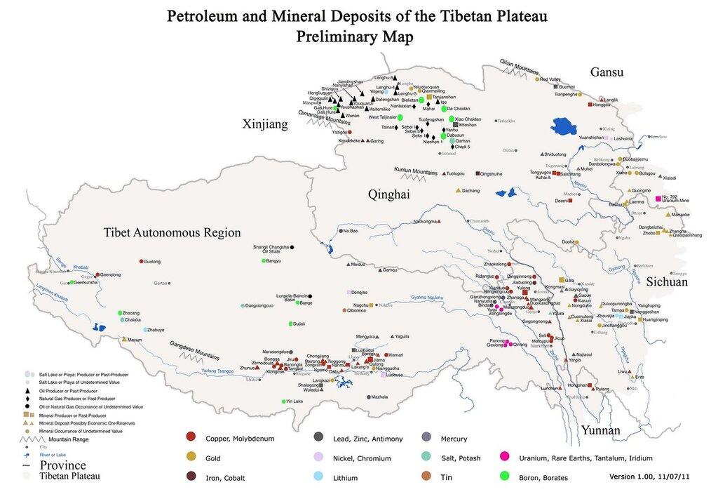 Полезные ископаемые Тибета