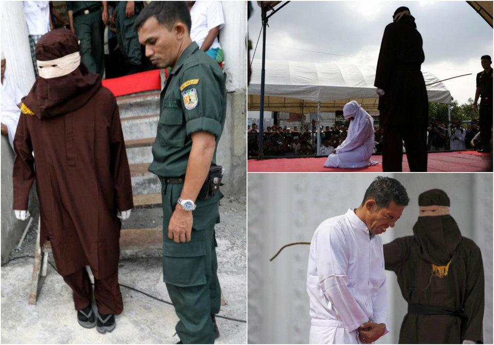 Девушку и парня публично выпороли в Индонезии