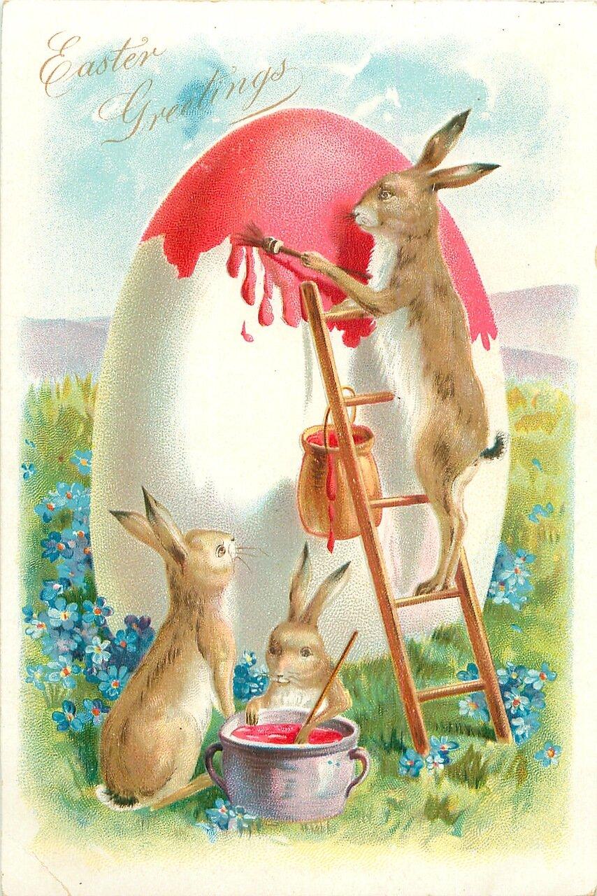 Пасхальные кролики открытка, казахском