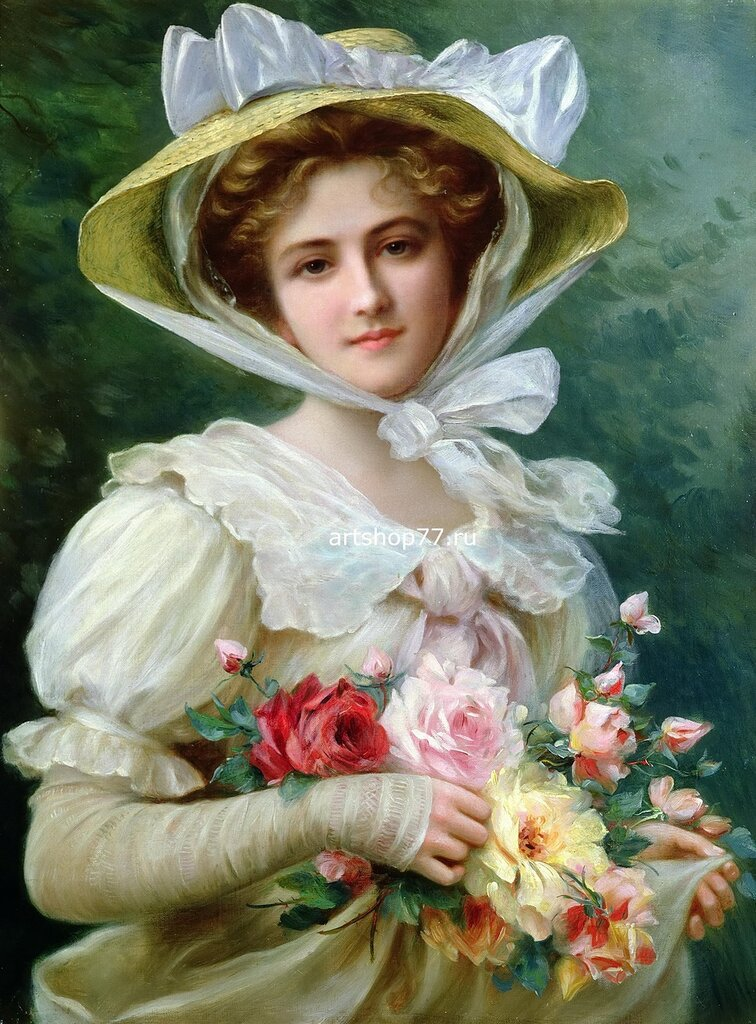 Emile-Vernon-1872-–-1919-French-Elegant-lady-with-a-bouquet-of-roses.jpg