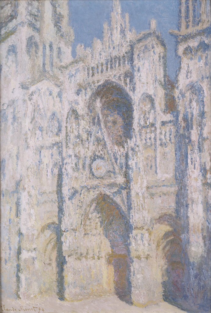 In 1892 Monet was required to travel to Rouen in order to sort out an inheritance issue. While there, he began a series of canvases of the cathedral, carried out in two campaigns in spring 1892 and 1893. These views of the façade are from three successive