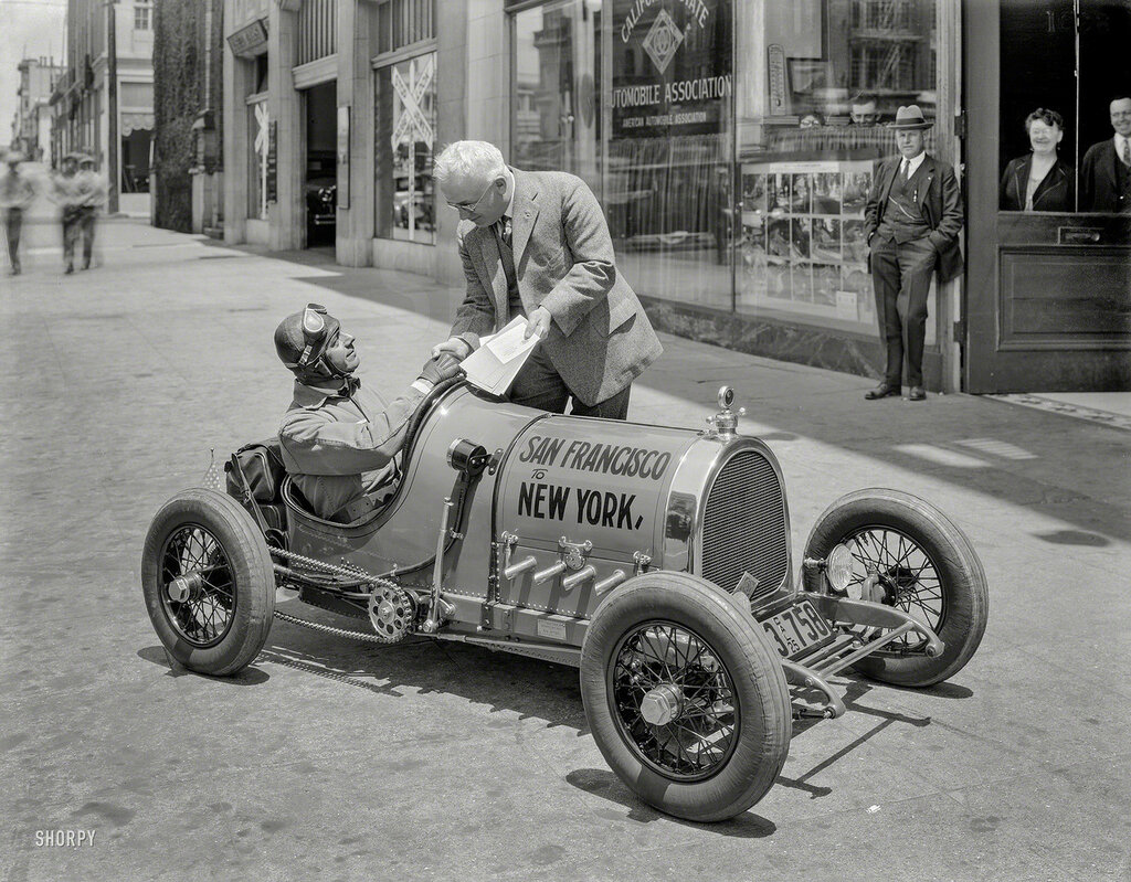 "San Francisco, 1925. California State Automobile Association -- Gus Petzel ""Baby Car"" at start of cross-country run"