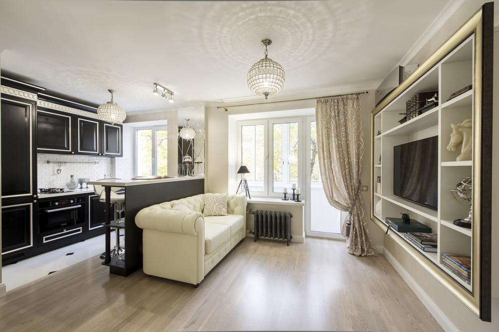 Арт-деко в интерьере однокомнатной квартиры 28,8 м2 (12 фото)