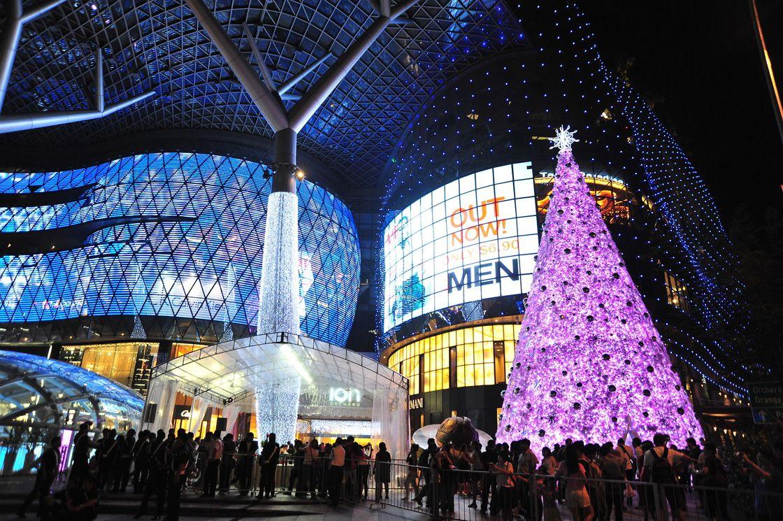 Рождественская елка возвышается над катком в Нью-Йорке. По слухам её украшают 45 тысяч светодиодов.