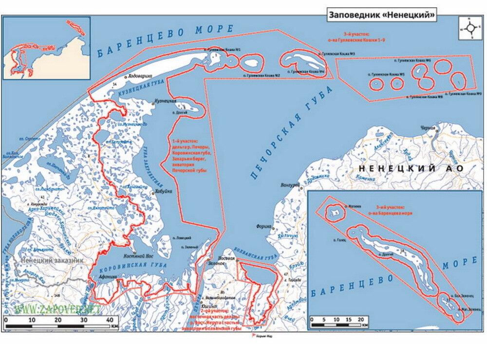Карта ненецкого заповедника