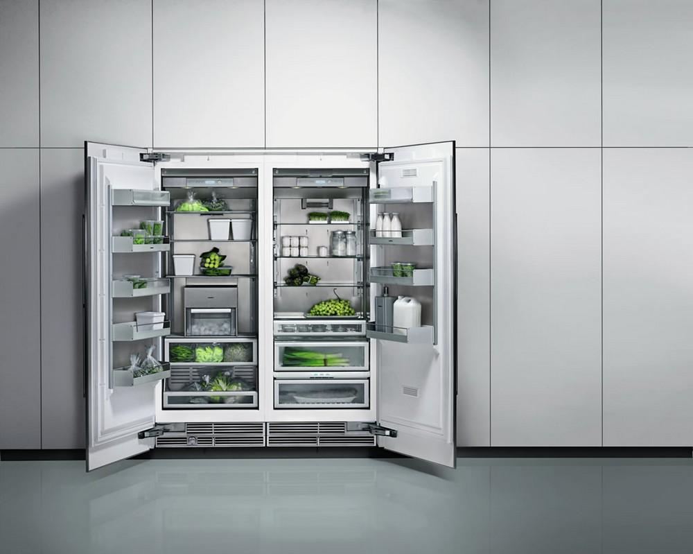 встраиваемые двух дверные холодильники