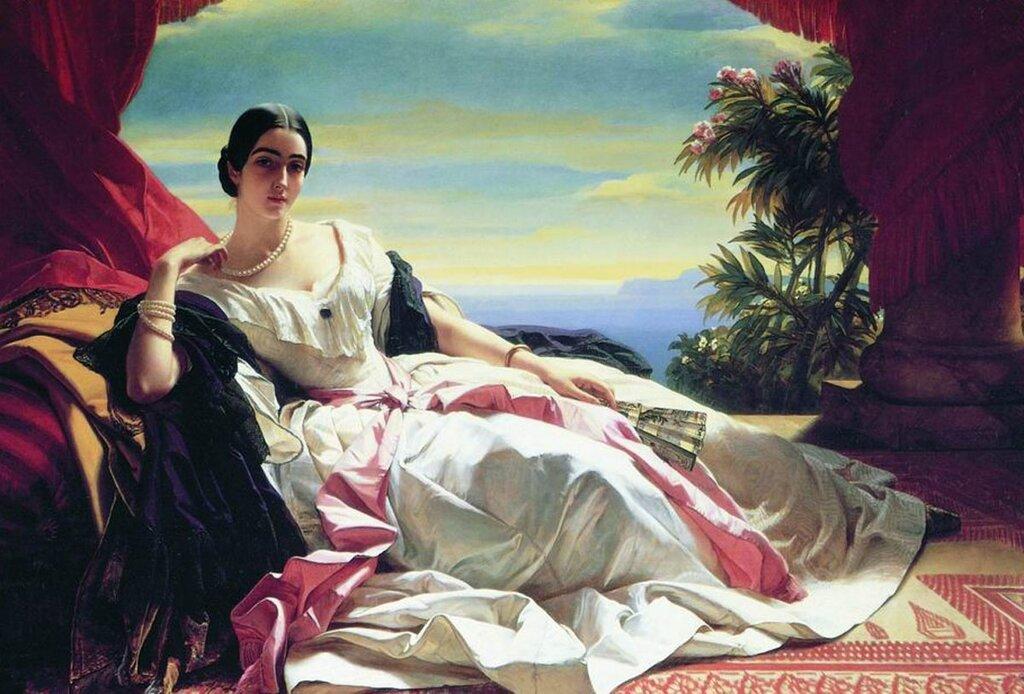 Леонилла Барятинская, княгиня Сайн-Витгенштейн-Сайн, 1843. В музее П.Гетти. Художник - Франц Ксавье Винтерхальтер.