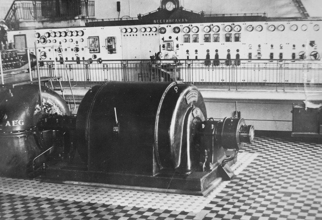 1931. Распределительный щит Вестингаузъ и турбина AEG 6 кВт с генератором завода Электросила