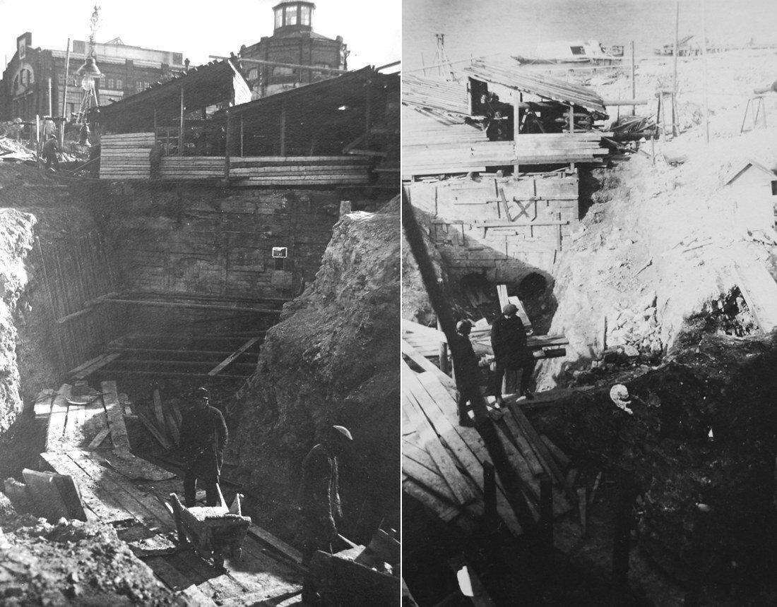 1931. Слева - котлован самотечный, справа - котлован всасывающей трубы