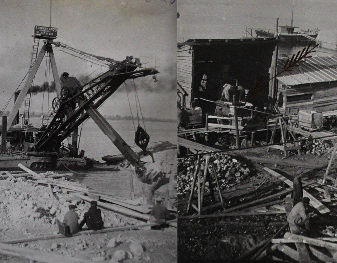 1931. Слева - прорытие экскаватором канавы самотечной линии, справа - работа бетономешалки Кайзер
