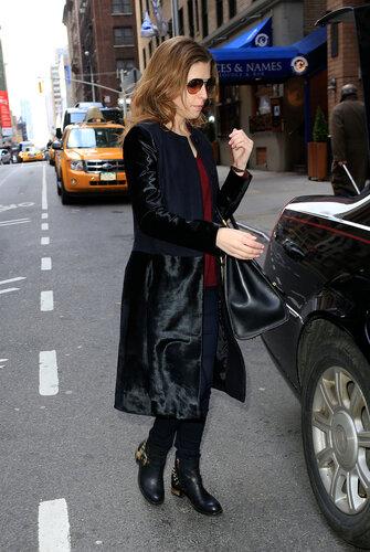 Anna Kendrick carries her Steve McQueen handbag outside her hotel in New York City
