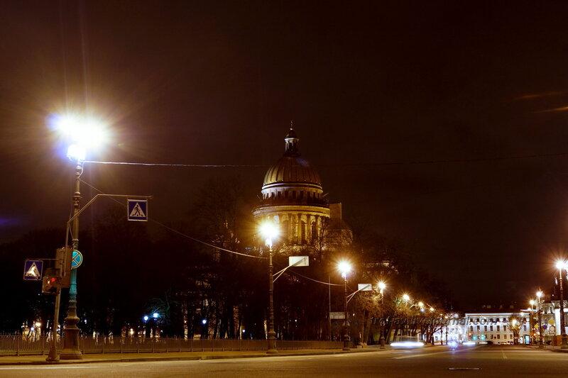 Исаакиевский собор, 1818-1858 гг., ночной Санкт-Петербург