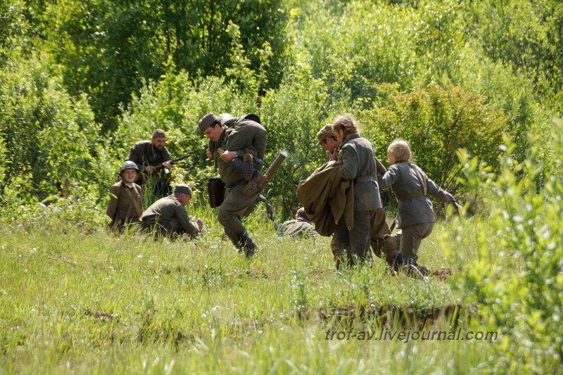 Эвакуация раненых красноармейцев. 22 июня, реконструкция начала ВОВ в Кубинке (2 часть)