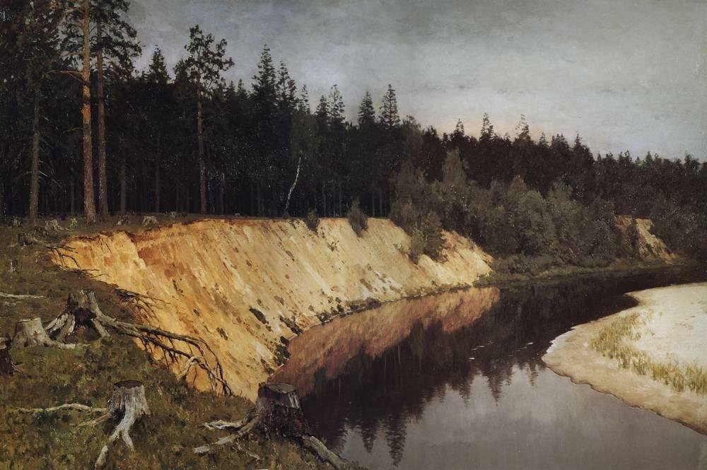 Лесистый берег. Сумерки. 1892.jpg