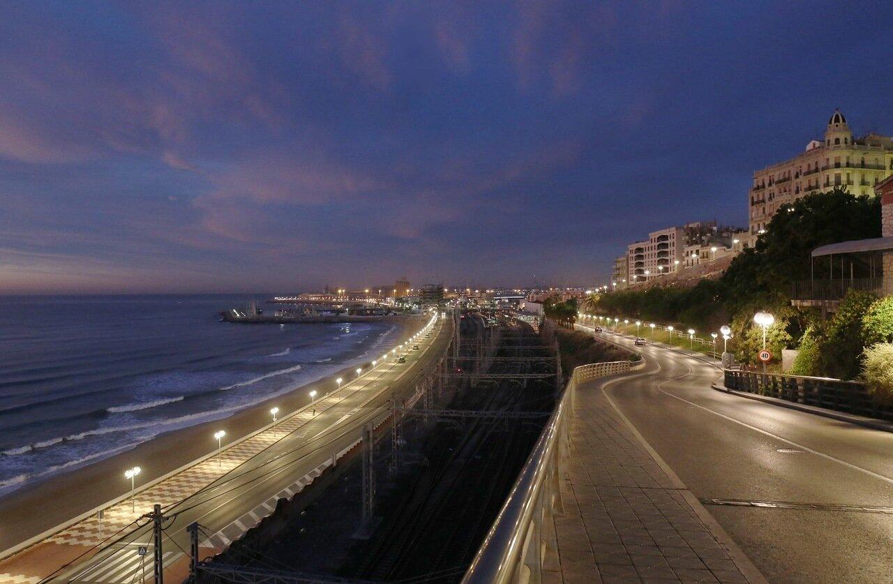 Playa Del Miracle. Tarragona. The sunrise on the baches of Mircal