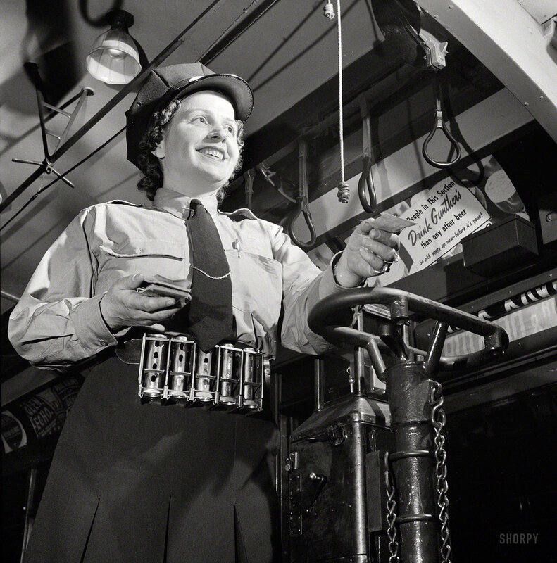 June 1943. Washington, D.C. Hattie B. Sheehan, a streetcar conductor for the Capital Transit Company