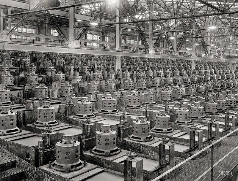 November 1942. Flotation machines at one of the copper concentrators of the Utah Copper Company