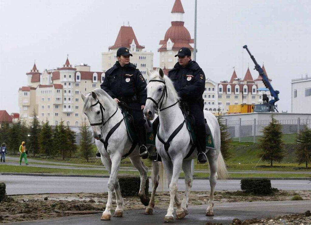 Конные патрули на дорогах и улицах города (1)