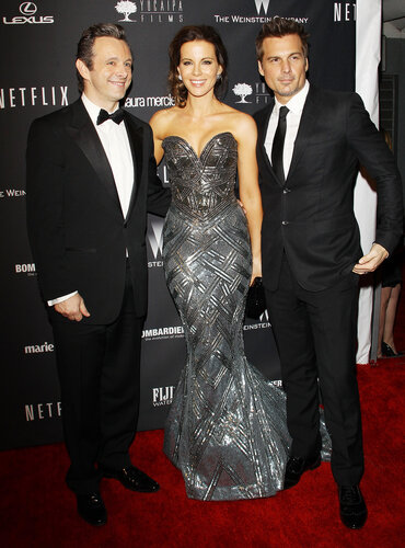 BEVERLY HILLS, CA - JANUARY 12: (L-R) Michael Sheen, Kate Beckinsale, and Len Wiseman arrive at The Weinstein Company and NetFlix 2014 Golden Globe Awards after party held on January 12, 2014 in Beverly Hills, California. (Photo by Michael Tran/FilmMagi