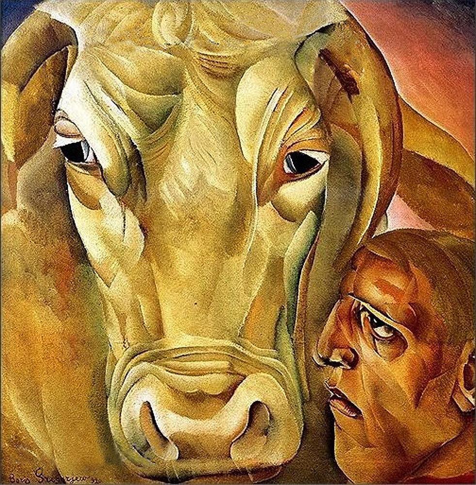"""Мужик с быком., 20-е годы, Борис Григорьев (1886-1939) Цикл """"Расея"""""""