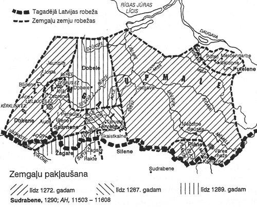 Подчинение земгалов до 1289 г.