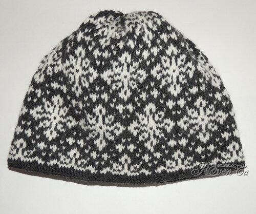 roventa-handmade, вязаная шапка, шапка спицами, жаккардовая шапка, шапка так снежно, hat so snow