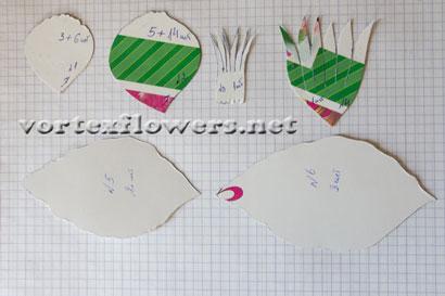 Гардения из ткани. Выкройка (схема) цветка.
