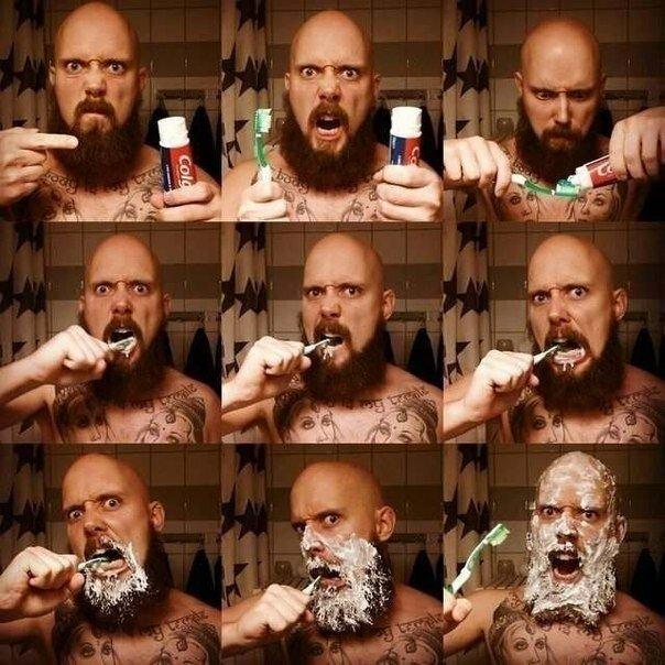 Как чистят зубы настоящие мужики!