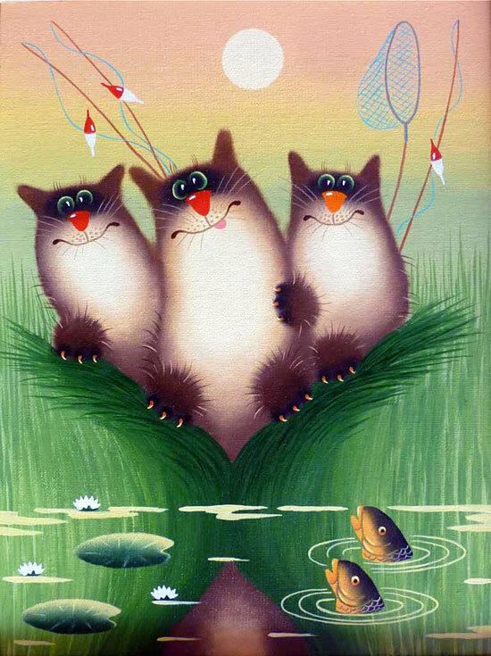 кот рыболов иллюстрации
